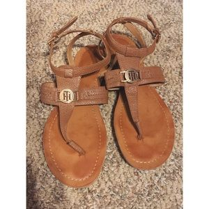 Tommy Hilfiger Tan and Gold Sandal